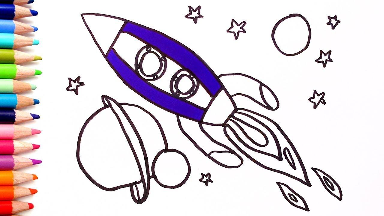 تعلم الألوان كيفية رسم صاروخ للاطفال كيف ترسم خطوة بخطوة للمبتدئين Youtube