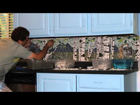 Aspen tree mosaic mural - Time lapse of installation