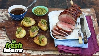 Lamb Roast With Streaky Bacon & Pistachio Dressing
