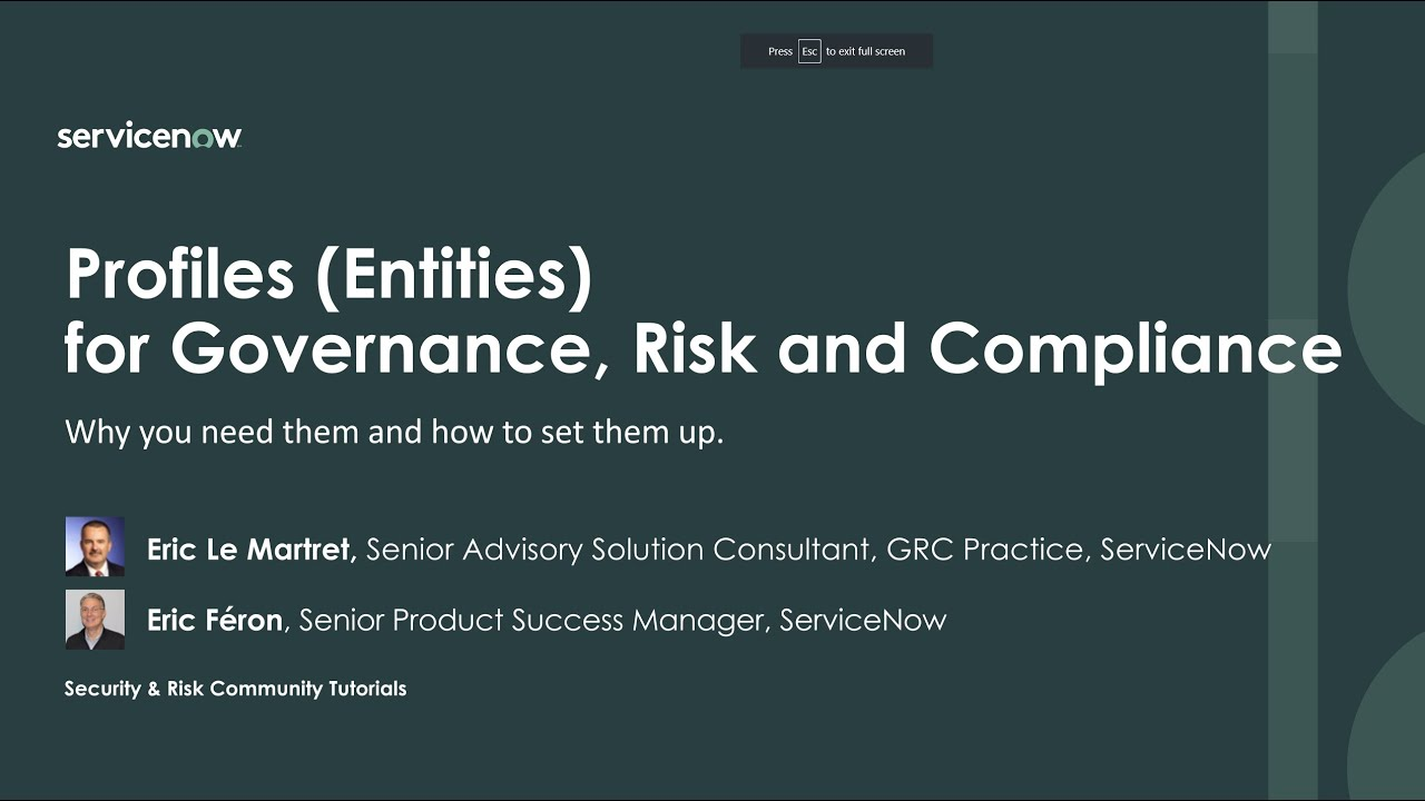 Profiles (Entities) for Governance, Risk and Compliance: why you need them  and how to set them up