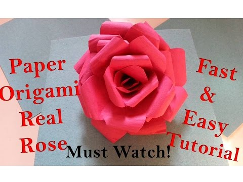 How to Make Paper Rose Flower - Real Origami Rose (Quick and Super Easy) Tutorial