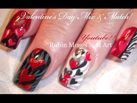 5 Valentine Nail Art Designs | Red Hearts & Zebra Print Nails Tutorial