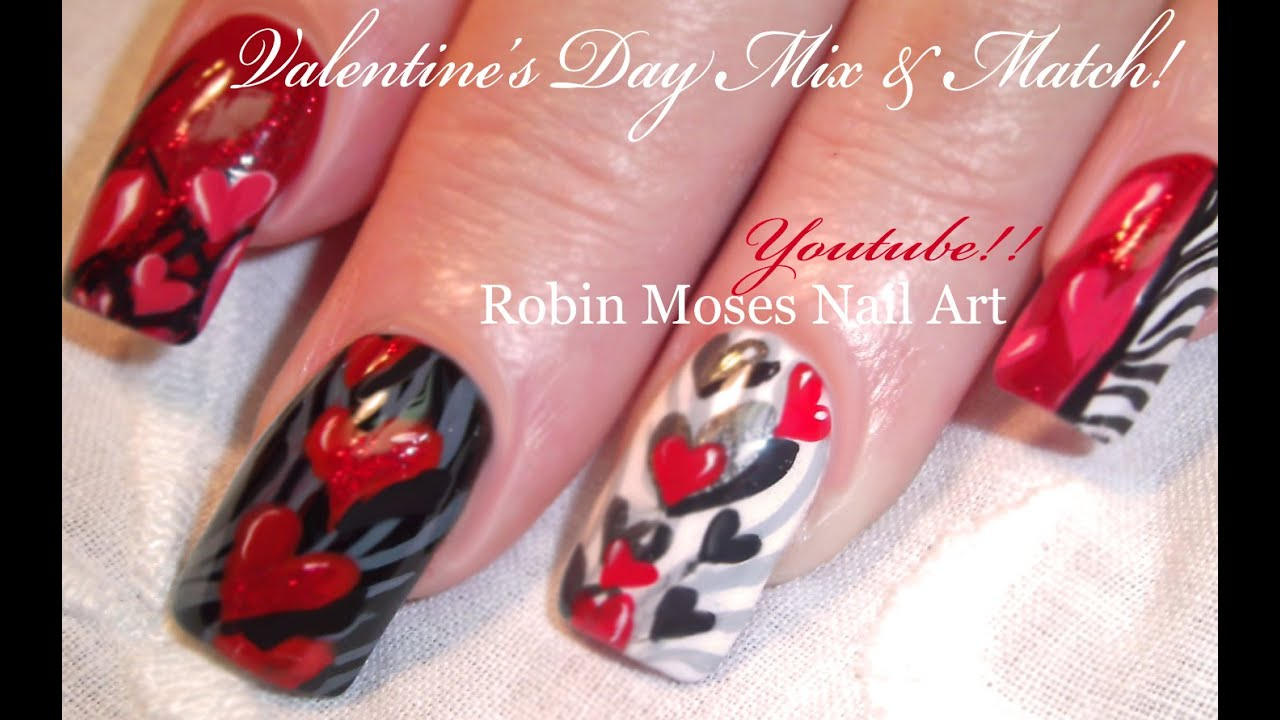 5 valentine nail art designs red hearts zebra print nails tutorial youtube - Valentines Nail