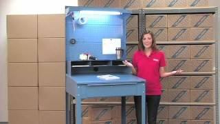 Heavy Duty Shop Desks With Pegboard & Cabinet Risers