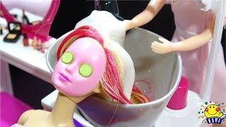 リカちゃんの美容室でヘアアレンジやエステサロンでパック❤︎髪の毛をリアルにシャンプーしてバービーが変身❤︎Doll Hair Wash!Hair Beauty Salon