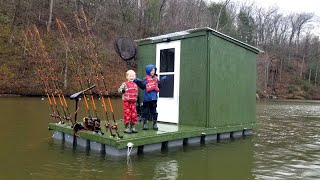Camping & Fishing on Floating Cabin Built From Scratch (My Quarantine Bug Out Cabin)