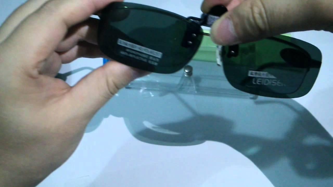99a7225e73 Clip On Flip Up Polarized Sunglasses Green Lens For Prescription Glasses -  YouTube