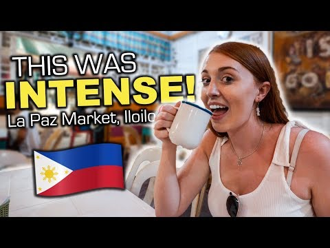 Crazy LAPAZ MARKET in Iloilo Philippines, Trying Native Coffee at Madges Cafe!