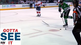 gotta-see-it-mike-hoffman-whips-stick-at-alex-radulov-trying-to-stop-empty-net-goal
