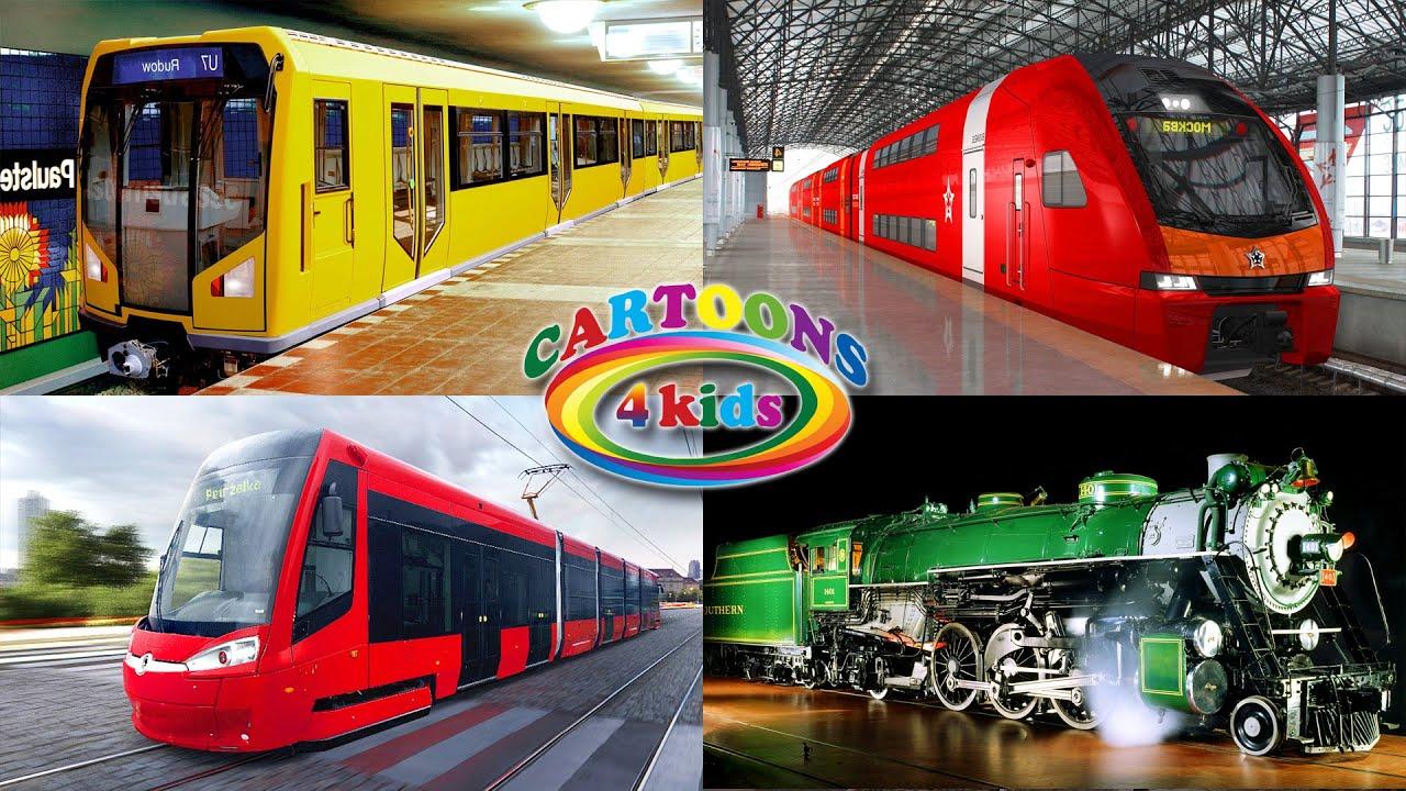 Изучаем поезда и железнодорожный транспорт, учим цвета и поезда для детей