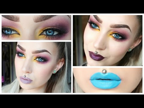 Purple Yellow Smokey Eye & Three Lip Options | Evelina Forsell