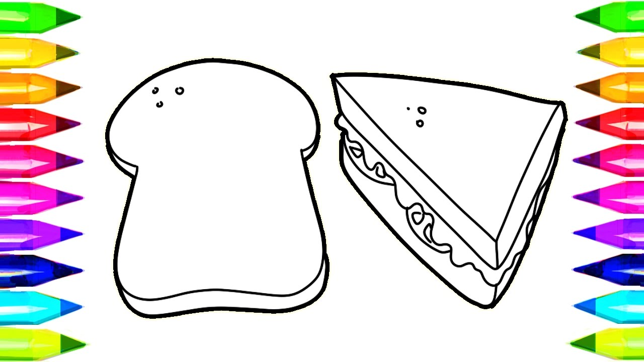 Sandwich and bread coloring pages learn colors for kids for Sandwich coloring page