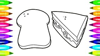 Sandwich and Bread Coloring Pages | Learn Colors for Kids with healthy sandwich Coloring Book