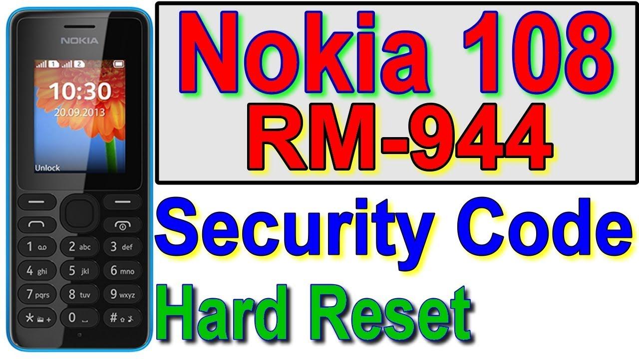 Nokia rm 944 master reset code
