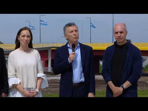 El presidente Mauricio Macri encabezó la inauguración del Puente Olímpico Ribera Sur