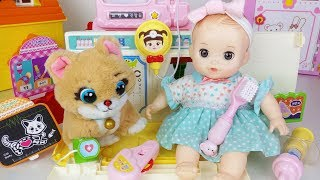 Baby doll doctor and pet animal care house toys play 아기인형 병원놀이 - 토이몽