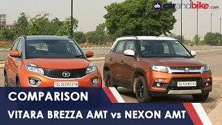 Maruti Suzuki Vitara Brezza AMT vs Tata Nexon AMT Comparison Review   NDTV carandbike