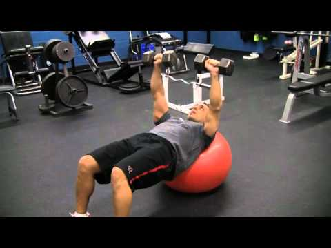 Stability Ball Incline Dumbbell Chest Press