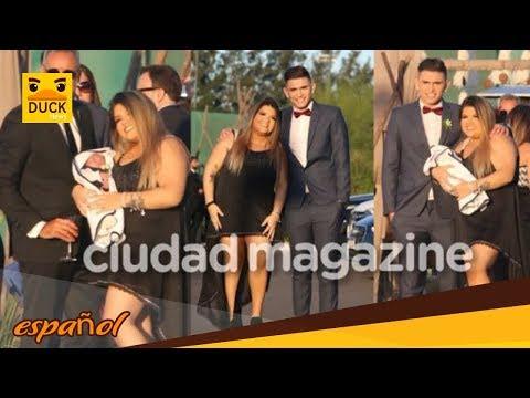 Morena Rial, junto a Facundo Ambrosioni y su bebé en el casamiento de Jorge y Romina Pereiro