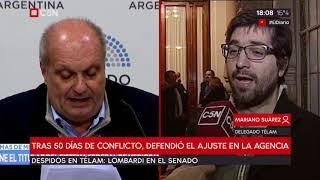 Depidos en Télam: Lombardi defendió el ajuste en el Senado