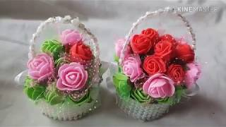 How to make flower basket with foam flowers/ gift idea for kids