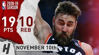Jonas Valanciunas Full Highlights Raptors vs Knicks 2018.11.10 - 19 Pts, 10 Rebounds!