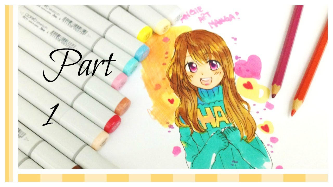 coloring hair skin by copic markers anime girl illustration part1 - Skin Color Markers