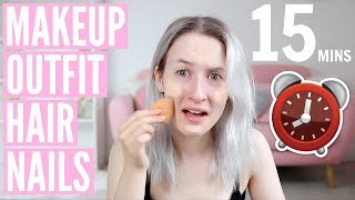 I TRIED GETTING READY IN 15 MINUTES!? (Makeup, Hair, Outfit & Nails) AD | Sophie Louise