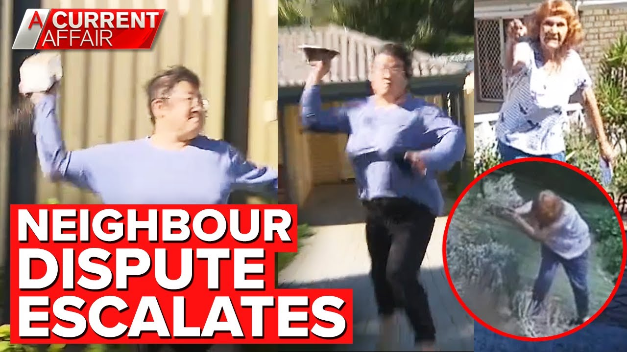 Crew dodge projectiles after neighbour's fence fight escalates | A Current Affair