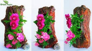 Handmade Tree Stump Cement Planter/Creative Tree Stump Showpiece DIY Cement Flower Pot//GREEN PLANTS