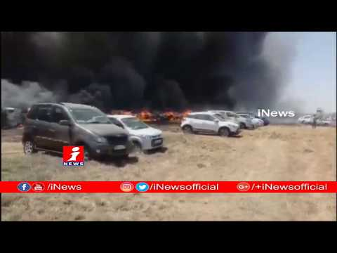 Massive Fire Breaks Out At Parking Lot Of Air India Show | 100 Vehicles Destroyed | iNews