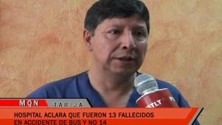 HOSPITAL ACLARA QUE FUERON 13 FALLECIDOS EN ACCIDENTE DE BUS Y NO 14