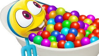Colors With Bath Time |  WonderBalls For Kids | Cartoon Candy