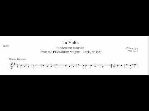 W. Byrd, La volta, for recorder