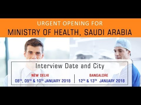 Urgent Opening For Ministry Of Health (MOH), Saudi Arabia