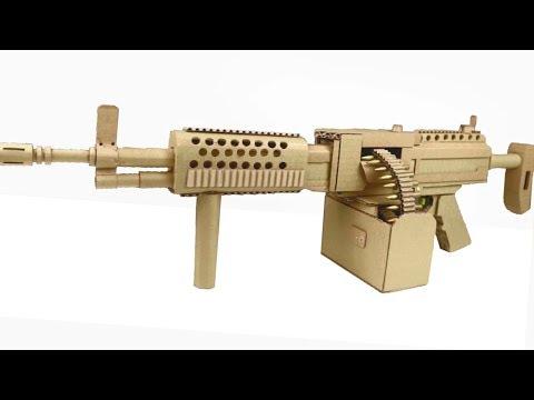 How to Make Cardboard KAC STONER LMG Machine Gun That Shoots
