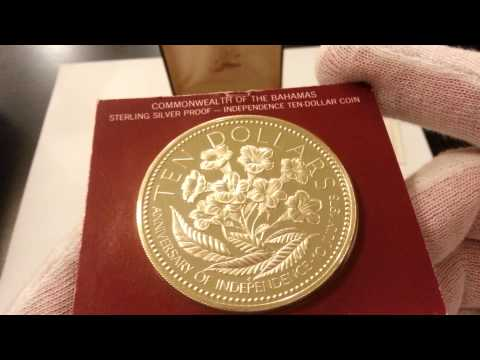 1975 Commonwealth of the Bahamas $10 925 Sterling Silver Proof - Mintage of 63,000