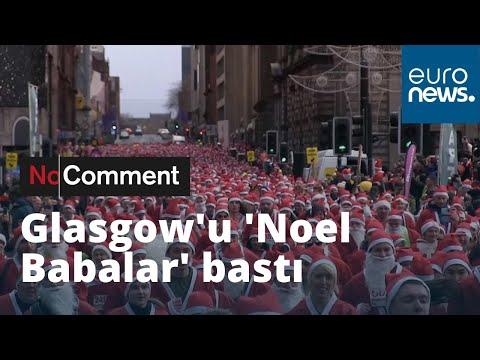 İskoçya'nın Glasgow şehrinin sokaklarını 'Noel Babalar' bastı