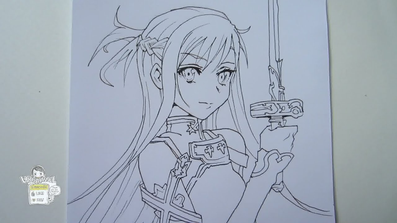 How to draw Asuna from Sword Art Online アスナ Part 1 - YouTube