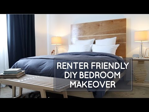 Renter-friendly small bedroom makeover: replacing vertical b