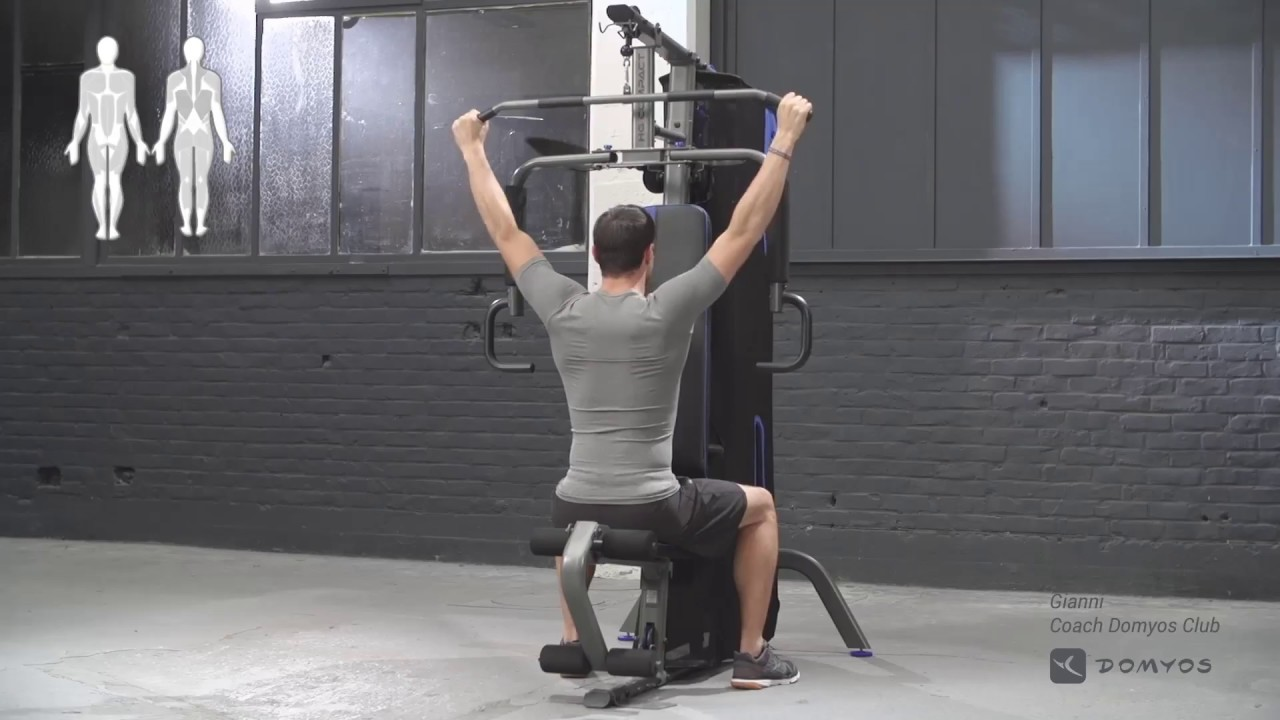 Exercice tirage verticale nuque home gym compact domyos