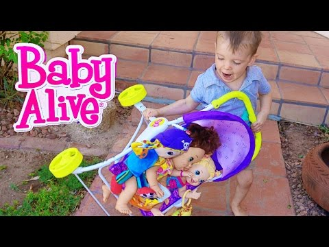Baby Alive Dolls BABY ATTACK Double Stroller CRAZY FUSSY Babies Toby Babysitter Baby Go On Walk