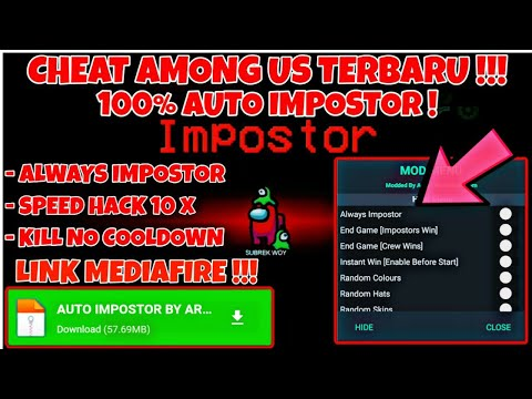 New Update Cheat Among Us Mod Menu Terbaru Always Impostor Kill No Cooldown Unlock All Skin Youtube