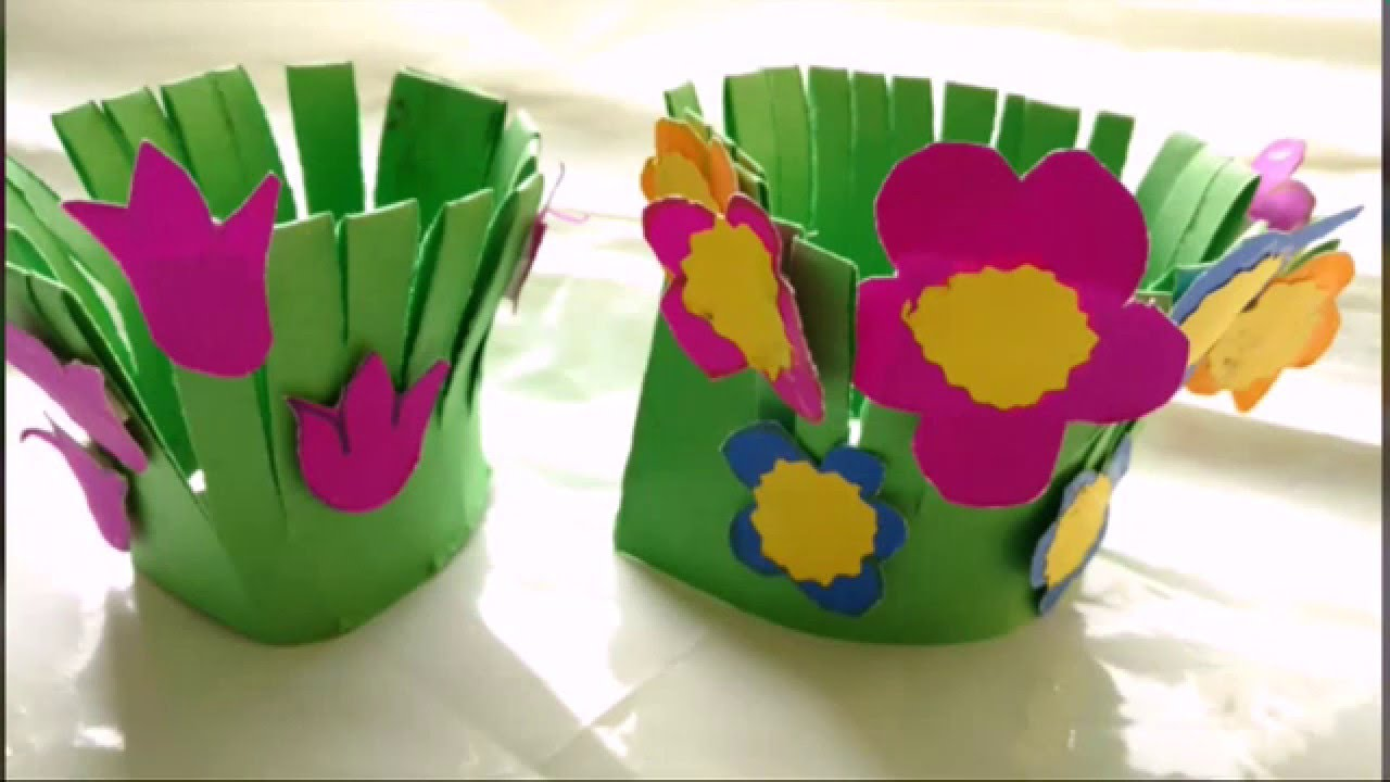 Easy paper craft flower garden making for kids paper for How to make craft