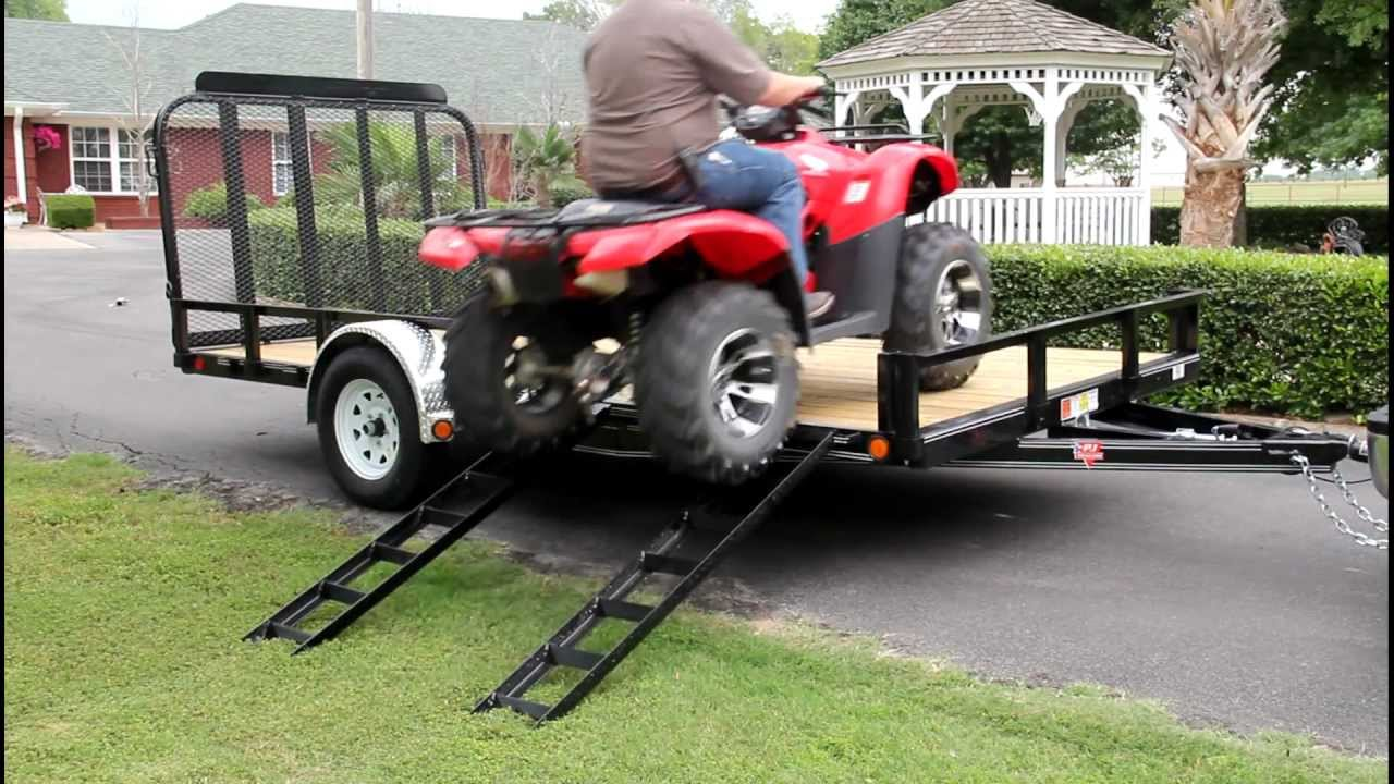 Atv Side Load Ramps On A Pj Utility Trailer Youtube