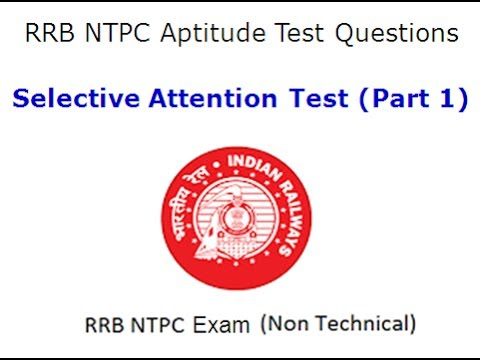 RRB NTPC Aptitude Test (Selective Attention Test With Answer Key) Part 1