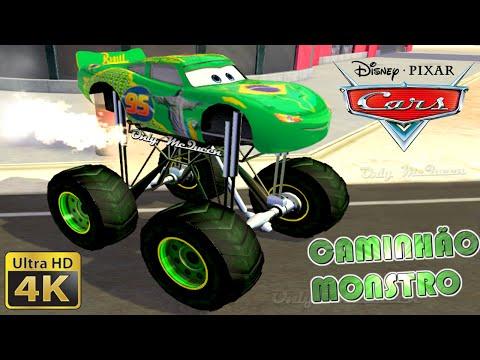 CAMINHÃO MONSTRO !! Relampago McQueen Brasil MONSTER TRUCK custom Disney Pixar (4K) [UHD]