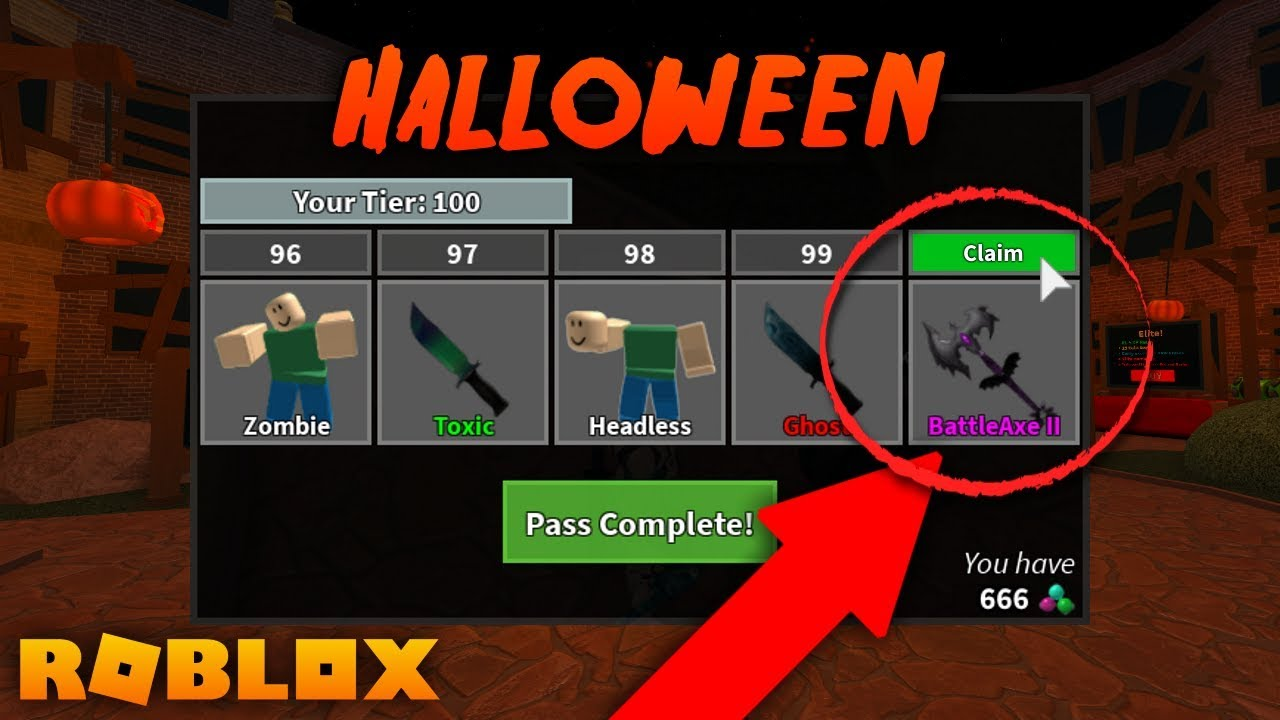 Mm2 In Roblox Completing Pass And Getting New Halloween Godly Knife Mm2 Halloween Update Youtube