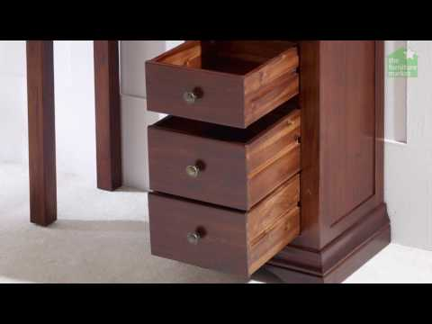 French Hardwood Mahogany Stained Pedestal Dressing Table Desk