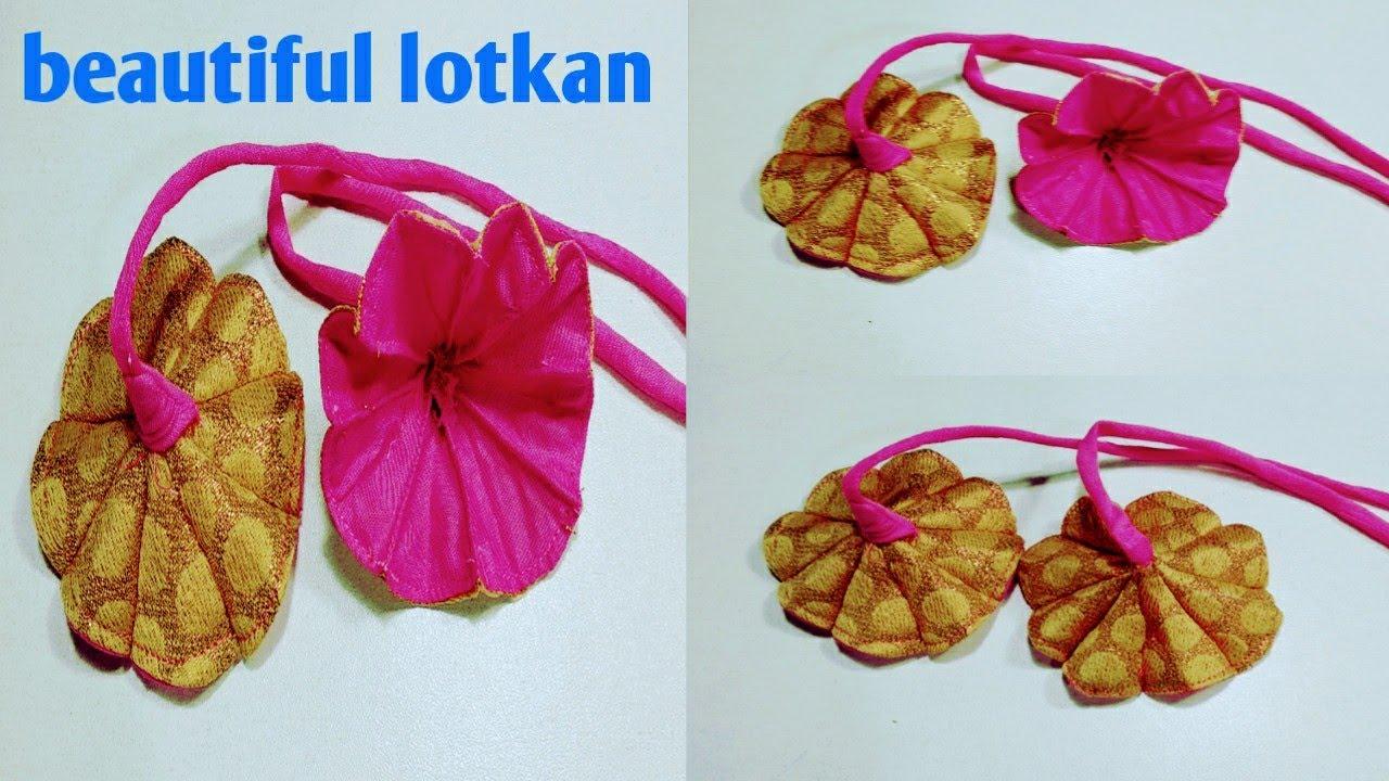 WOW😍 কাপড় দিয়ে সহজ নিয়মে ফুল/লটকান তৈরি। how to make fabric flower.How to make fabric latkan for.